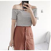 Mujer Simple Casual/Diario Verano Camiseta,Escote Barco A Rayas Manga Corta Algodón Medio