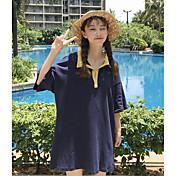 Mujer Simple Casual/Diario Camiseta,Cuello Camisero Un Color Manga Corta Algodón