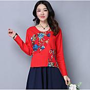 Mujer Simple Casual/Diario Camiseta,Escote Redondo Floral Estampado Manga Larga Lino Otro