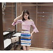 Mujer Simple Casual/Diario Verano T-Shirt Falda Trajes,Escote Barco Un Color Manga Tres Cuartos