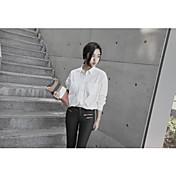 Mujer Simple Casual/Diario Trabajo Camisa,Cuello Camisero Un Color Manga Larga Algodón