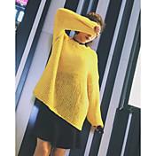 Mujer Regular Pullover Playa Un Color Escote Redondo Manga Larga Otro Primavera Invierno Medio Microelástico