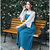 Mujer Simple Noche Discoteca Primavera Otoño Blusa Pantalón Trajes,Escote en Pico Un Color Bordado Manga Larga Microelástico