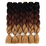 Jumbo Trenzas crochet Afro Trenzas de colores Cabello 100 % KanekalonCastaño Medio / medio castaño rojizo Castaño Medio Azul negro Negro
