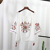 Mujer Tejido Oriental Casual/Diario Camisa,Escote Barco Bordado Manga 3/4 Algodón