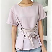 Mujer Simple Casual/Diario Camiseta,Escote Redondo Un Color Manga Corta Lino Otro