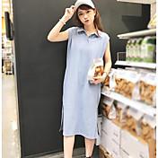 Mujer Corte Ancho Vestido Casual/Diario Un Color Cuello Camisero Midi Manga Corta Algodón Verano Tiro Medio Microelástico Fino