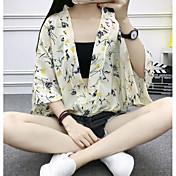 Mujer Simple Casual/Diario Blusa,Escote en Pico Estampado Manga 3/4 Poliéster