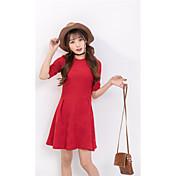 Mujer Línea A Vestido Casual/Diario Un Color Escote Redondo Sobre la rodilla Manga Corta Algodón Primavera Tiro Medio Microelástico Medio