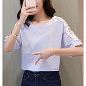 Mujer Simple Casual/Diario Camiseta,Escote en Pico Un Color Manga Corta Algodón