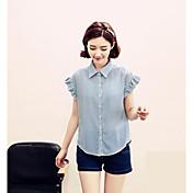 Mujer Simple Casual/Diario Verano Camisa,Cuello Camisero A Rayas Manga Corta Licra Medio