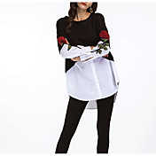 Mujer Sexy Casual/Diario Primavera Otoño Camiseta,Escote Redondo Bloques Bordado Manga Larga Poliéster Medio