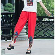 Mujer Boho Tiro Alto Microelástico Chinos Pantalones,Corte Recto Estampado
