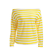Mujer Bonito Deportes Casual/Diario Otoño Camiseta,Escote Barco A Rayas Manga Larga Algodón Medio