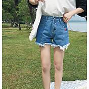 Mujer Sencillo Tiro Alto Microelástico Shorts Vaqueros Pantalones,Delgado Un Color