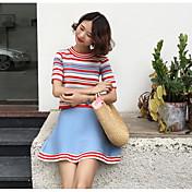 Mujer Simple Casual/Diario Primavera T-Shirt Falda Trajes,Escote Redondo A Rayas Manga Corta