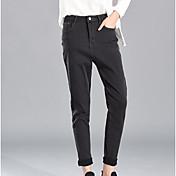Mujer Sencillo Tiro Alto Microelástico Chinos Pantalones,Pitillo Un Color