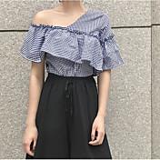 Mujer Simple Casual/Diario Camisa,Un Hombro Cuadrícula Manga Corta Algodón
