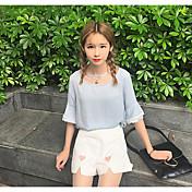 Mujer Simple Casual/Diario Verano T-Shirt Pantalón Trajes,Escote Redondo Estampado Media Manga
