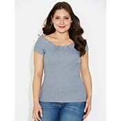 Mujer Regular Pullover Casual/Diario Simple,Un Color Escote Barco Manga Corta Algodón Otoño Medio Microelástico