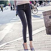 Mujer Sencillo Tiro Alto Microelástico Ajustado Vaqueros Pantalones,Delgado Un Color
