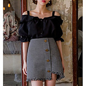 Mujer Simple Casual/Diario Verano T-Shirt Falda Trajes,Con Tirantes Un Color Manga Corta
