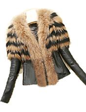 XT Women's Solid Color Black / Yellow Coats & Jackets , Casual V-Neck Long Sleeve