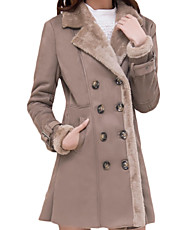 Women's Plus Size Simple Fur Coat,Solid Shirt Collar Long Sleeve Winter Brown Wool Thick