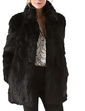 Cappotto di pelliccia Da donna Taglie forti Per uscire Inverno Moda città,Tinta unita Pelliccia sintetica Cotone Poliestere NeroManica