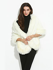 Vrouwen Sexy / Eenvoudig Herfst / Winter Bontjas,Uitgaan / Casual/Dagelijks / Feestje/cocktail Ronde hals-Mouwloos Wit Effen Dik Acryl