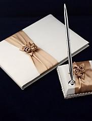 サテン☆花飾り☆結婚式芳名帳とペンセット