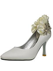 Elegantní koženková horní stiletto pata uzavřená prst s kamínky / volánky svatební / strana boty