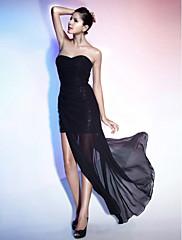 TS Couture Koktejlový večírek Formální večer Šaty - Sexy Malé černé šaty Pouzdrové Bez ramínek Srdce Na zem Asymetrické Šifón Flitry s