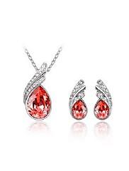 Elegantní krystal s náhrdelníkem platinovým pokovování a náušnice sada