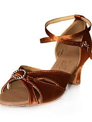 Non Prilagodljiv - Ženske - Plesne cipele - Latin / Balska sala - Satin - Niska Heel - Crn / Braon / crven