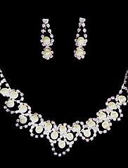 ホワイト♥ラインストーン/淡水真珠♥925純銀♥ジュエリーセット(ネックレス、イヤリング)