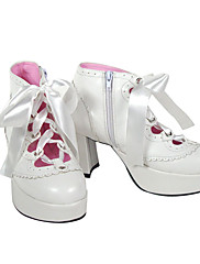 Boty Punk Lolita Lolita Vysoký podpatek Boty Jednobarevné 7.5 CM Bílá Černá Pro PU kůže/Polyurethanová kůže Polyurethanová kůže