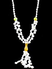 Nádherná sladká voda perla / jade svatba svatební náhrdelník