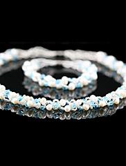 Nádherná sladká voda perla / krystal svatební svatební šperky sada včetně náhrdelník a náramek