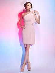TS Couture Koktejlový večírek Šaty - Krátké Pouzdrové Jedno rameno Krátký / Mini Šifón s Květina(y) Boční řasení Sklady