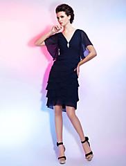TS Couture Koktejlový večírek Maturita Šaty - Malé černé šaty Pouzdrové Do V Ke kolenům Šifón s Křišťálová brož Sklady
