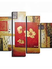 ručně malované květinové olej s rozprostřeným rámem - sada 4