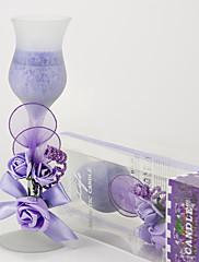 svatební výzdoba lila růže sklo svícen