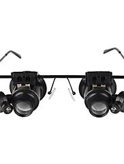 眼鏡は、白色LEDの光で20倍拡大鏡を入力