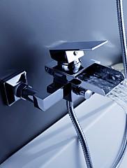 Současné Vana a sprcha Vodopád with  Keramický ventil Single Handle dva otvory for  Pochromovaný , Vanová baterie