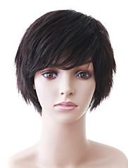 capless přírodní vzhled krátké černé vlnité lidské vlasy paruka