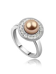 nádherný pokovených platinou perla s kulatým kroužkem tvaru módního (více barev)