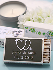 Wedding Décor Personalized Matchboxes - Double Hearts With Arrow (Set of 12)