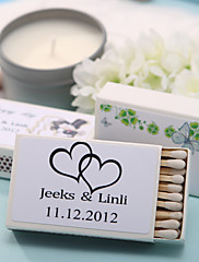 decoración de la boda cajas de fósforos personalizados - negros corazones dobles (juego de 12)