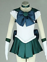 Inspirovaný Sailor Moon Sailor Neptune Anime Cosplay kostýmy Cosplay šaty Patchwork Biały / Zielony Krátké rukávy K šatům / Kravata
